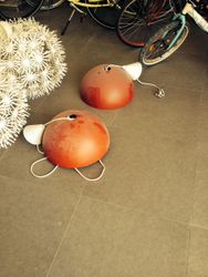 2 red ceiling lights IKEA