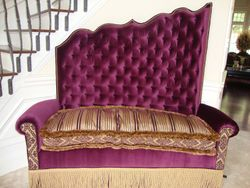 custom built velvet and silk bench