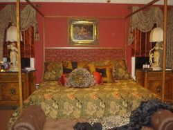 Floral and leopard silk and velvet bedding