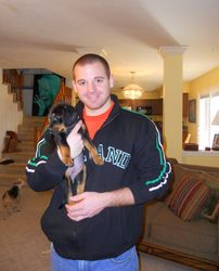 Chris with Riley the day we brought her home!