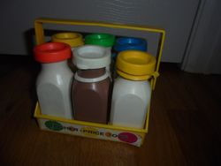 Fisher Price Fun With Food Vintage Milk Bottles with Carrier #637 - $15