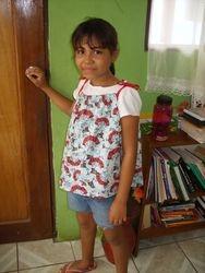 Girl in dress as a shirt