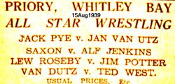 1939 Wrestling Poster from my home town  I wrestled there many times for Cyril Knowles !!