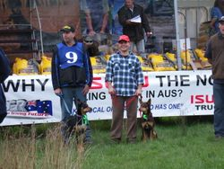 Kelpie Hillclimb Winner Aussie with Adam Ward, 2nd Place Dusty with Shane Beauglehall