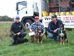 Kelpie Hillclimb Winner Aussie with Adam Ward 2nd Place Dusty with Shane Beauglehall, 3rd Place Rosie with Geoff Burling