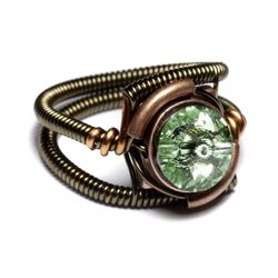 Steampunk Ring with Chrysolite Crystal