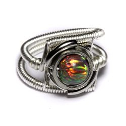 Steampunk Ring with Lab Opal