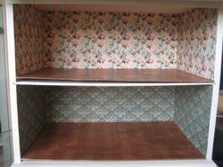 Inside wallpapered