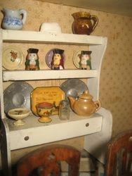 A close up of kitchen dresser.