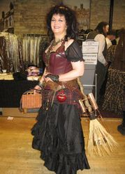 Steampunk witch with amazing broom!