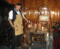 Steampunk glass working machine.
