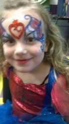 Spidergirl Heart Mask Face Painting by Atlanta Face Painter Frances Muslar