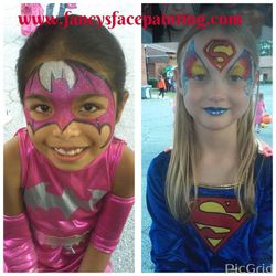 Pink Batman and Super Girl