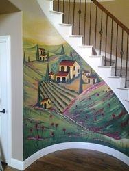 Italian Vineyard stair Mural