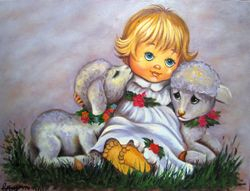 Cute baby doll with two cute lamb