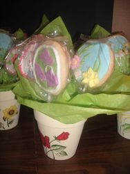 Pot of flowering Cookies by Christine