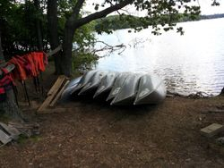 Canoes Waiting for Action