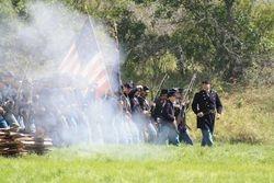 The Battalion Commander wheels the men into line