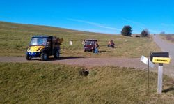 Signing trail near Brady Huppert's