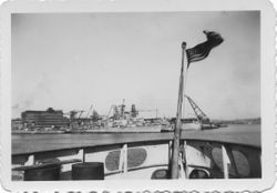 Boston Harbor Navy Yard from Evergreen Consitution Wharf 1948
