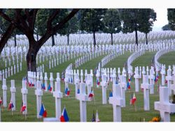 Grave markers with flags