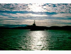 GITMO USS America Moored at night