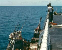 Small fishing boat boarding