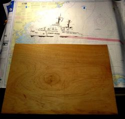 Cutting a back board for the chart