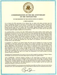 Certificate 50th Anniversary of the Vietnam War