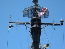 Aft mast and Old Glory