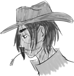 Sometimes I forget Jess is a fucking cowboy poses (all digi doodle)