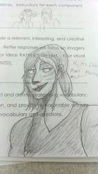 big fucking marron doodle on my schoolwork (traditional doodle)