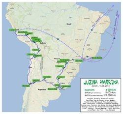 Mapa putovanja po Juznoj Americi