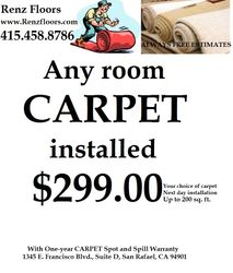Any room carpeted for $299