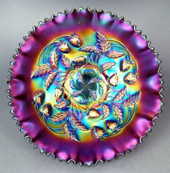 Strawberry, pie crust edged purple bowl