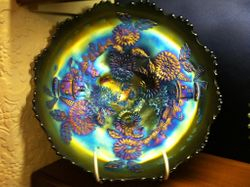 Chrysanthemum large ice cream shape bowl, blue