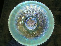 Three Fruits STIPPLED banded plate, ribbed back, aqua opal.