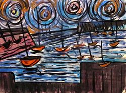 Boats in setting sun