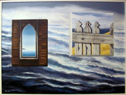 Newfoundland resettlement,church window,rough seas and a picket fence
