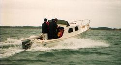 Gilcraft 175. 1st displacment hull to acheive 15 knots.