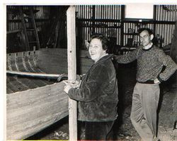 Young Gil building his first commercial fishing boat 1958.