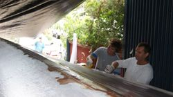 West System epoxy fibre glass the hull, apply peel fly sheet.