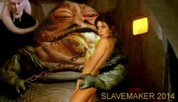 Leia is now first time chained to Jabba, he licks her breast !