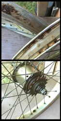 Rusty rims and hubs