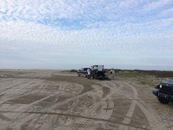 The beach parking site on Elmer's Island.