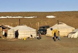 yurts in the Gobi