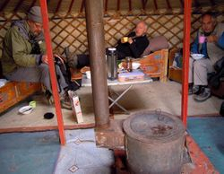 Brian, David and Dave in our yurt