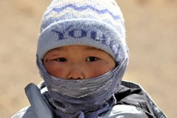 child traveling in the Gobi