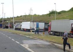 trucks on Macedonian side of the border