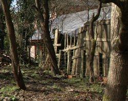 Broken fence to the Stoneleigh garden